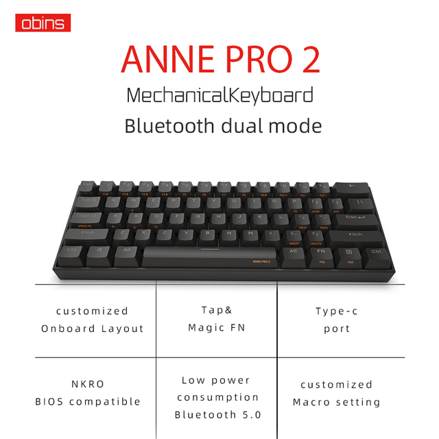 Anne Pro2 mini portable 60% mechanical keyboard wireless bluetooth Gateron mx Blue Brown switch gaming keyboard detachable cable 3