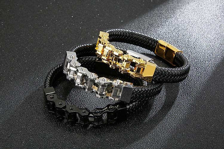 Cycolinks Braided Leather Bike Chain Bracelet