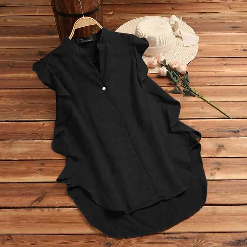 ZANZEA 2019 Zomer Vrouwen Mouwloze Blouse Dames Elegante V-hals Ruches Tops Casual Werk OL Shirt Blusas Femininas Plus Size