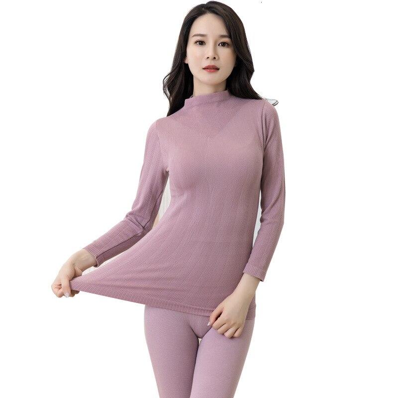 Seamless High Collar Full Cotton Keep Warm Underwear Set Bodybuilding Slim Thermal Underwear Set Women Long Johns Set