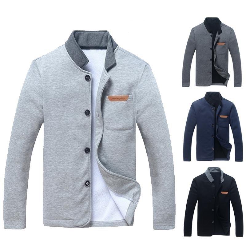 Leather Label Casual Jacket Men's Cardigan Men's Simple Coat Fashion Stand Collar Slim Jacket