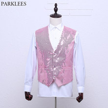 Pink Paillette Sequins Glitter Vest Men Slim Fit V Nekc Mens Shiny Dress Vests Waistcoat Male Club Party Dance Prom Costumes 2XL(China)