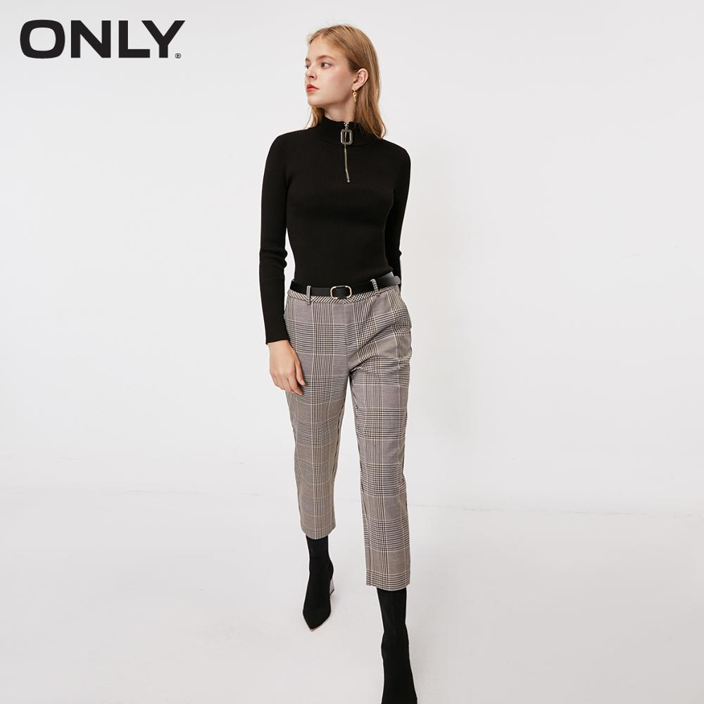 ONLY Women's  Straight Fit Checked Capri Pants | 11916J501