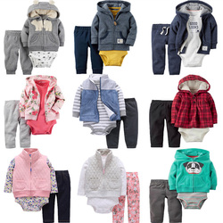 Autumn Winter Newborn Set,Coat+Pants+Rompers Cotton,Toddler Boy Girl Clothing Set,Kids Bebes Outfit,Infant Baby Clothing 2019