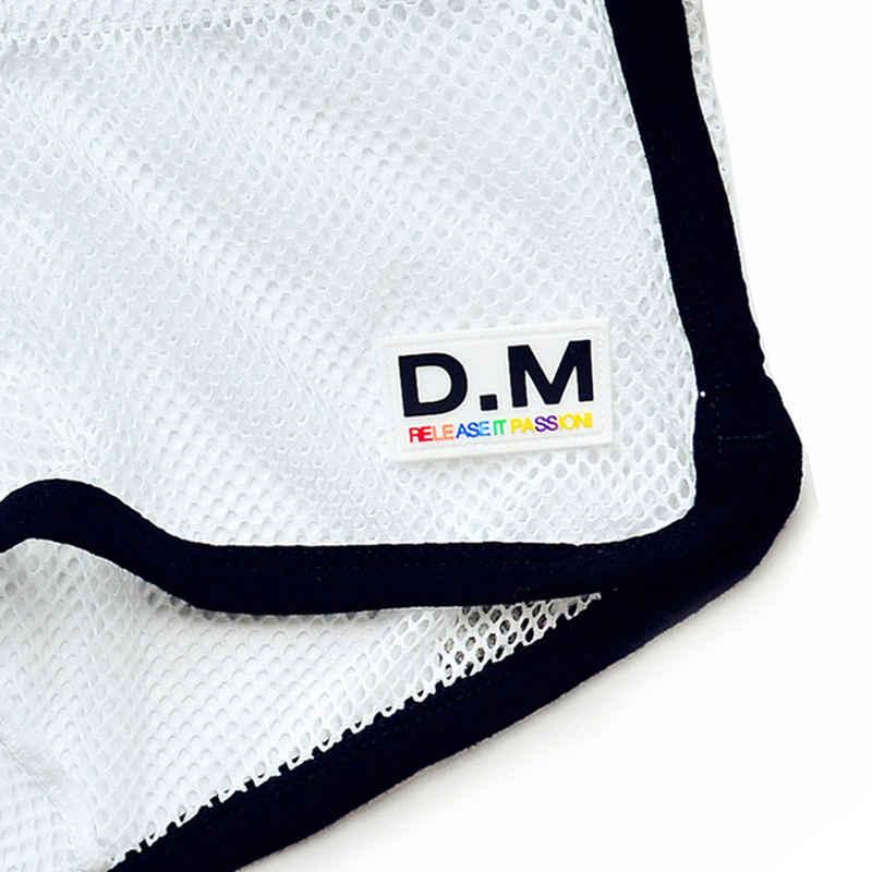 DM תחתוני רשת דייגים סקסי הומו שקוף בגדי ים מכנסיים קצרים רירית לראות דרך Mesh בוקסר עם בגד ים ללבוש Desmiit