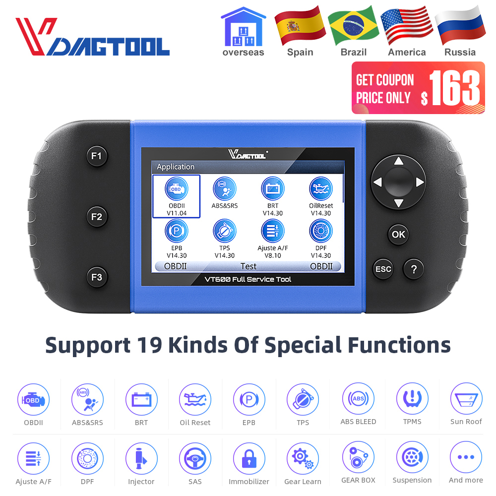 Automotive Scan Tool >> Us 167 74 29 Off Vdiagtool Vt600 Obd2 Automotive Scanner Tool Engine Abs Srs Epb Oil Service Reset Injector Coding Obdii Car Diagnostic In Air Bag