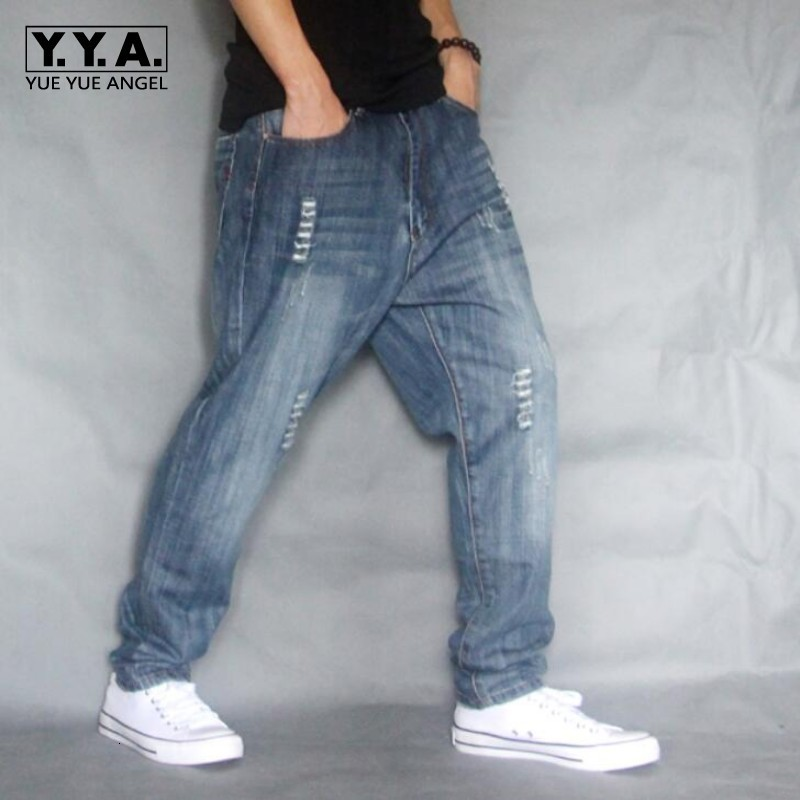 Top Brand Mens Cargo Jeans Pants Hole Ripped Hip Hop Designer Baggy Jeans Mens Loose Fit Casual Trousers Cotton Size 40 42