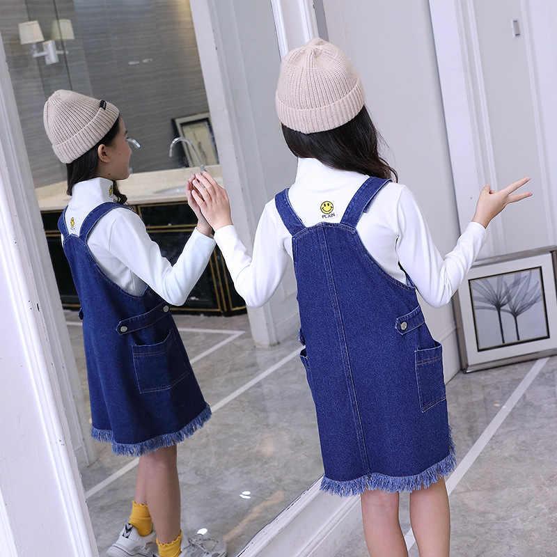 Bé Gái Denim Tổng Thể Váy Quần Jean Kid Chắc Chắn Viền Áo Liền Quần Da Bò Quần Áo Mùa Xuân Hè Bộ Trang Phục Dành Cho Tuổi Teen Cô Gái Tuổi