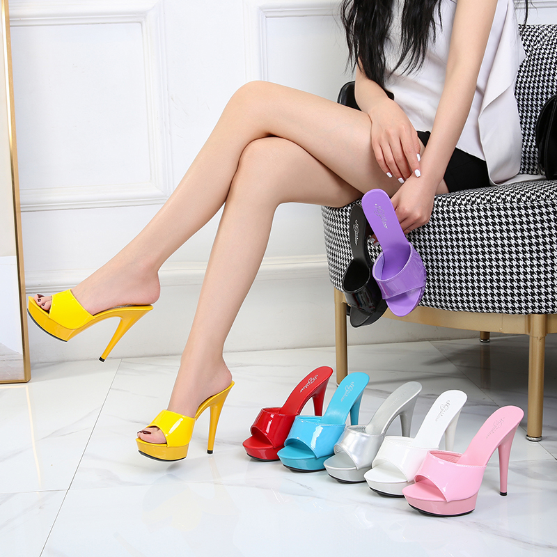 Shoes Women Slipper Summer Fine Heel 3cm Slipper Female Waterproof  3cm Prevent Thick Strippe Bottom Sexy Shoes Stripper Heel