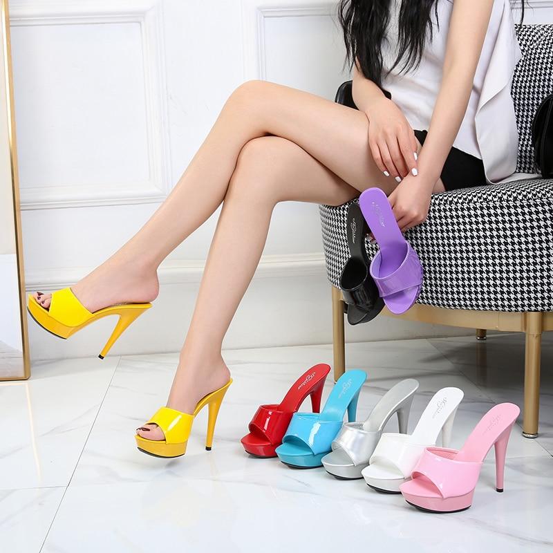 Shoes Women Slipper Summer Fine Heel 3cm Slipper Female Waterproof  3cm Prevent Thick Strippe Bottom Sexy Shoes Stripper Heel