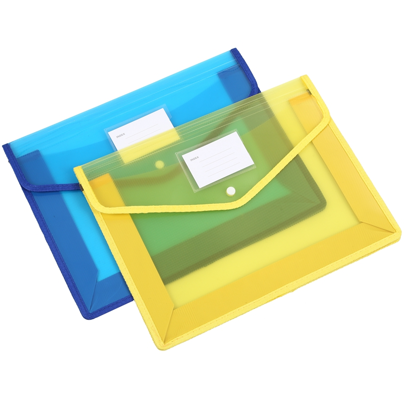 2Pcs/Set A4 Plastic File Wallet Document Folder Premium Poly Pockets Envelope With Business Card Holder