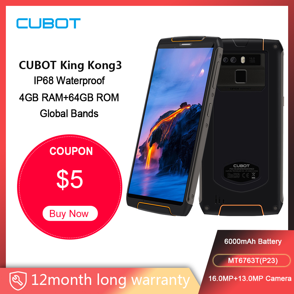 Cubot King Kong 3 Rugged Phone IP68 Waterproof Dustproof NFC 6000mAh 4GB+64GB Type-C Fast Charge MT6763T Octa Core KingKong 3
