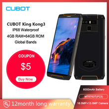 Cubot King Kong 3 Telefono Cellulare Robusto IP68 Antipolvere Impermeabile NFC 6000mAh 4GB + 64GB Tipo C carica veloce MT6763T Octa core KingKong 3