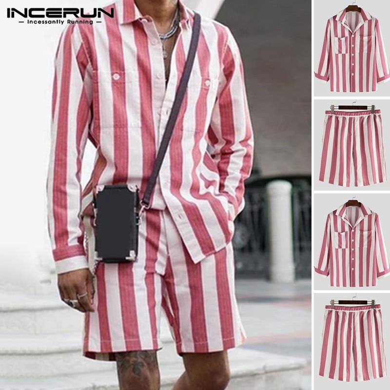 INCERUN Fashion Men Sets Striped Casual Long Sleeve Pockets Shirts Men Suits Elastic Waist Shorts Streetwear 2 Pieces Plus Size