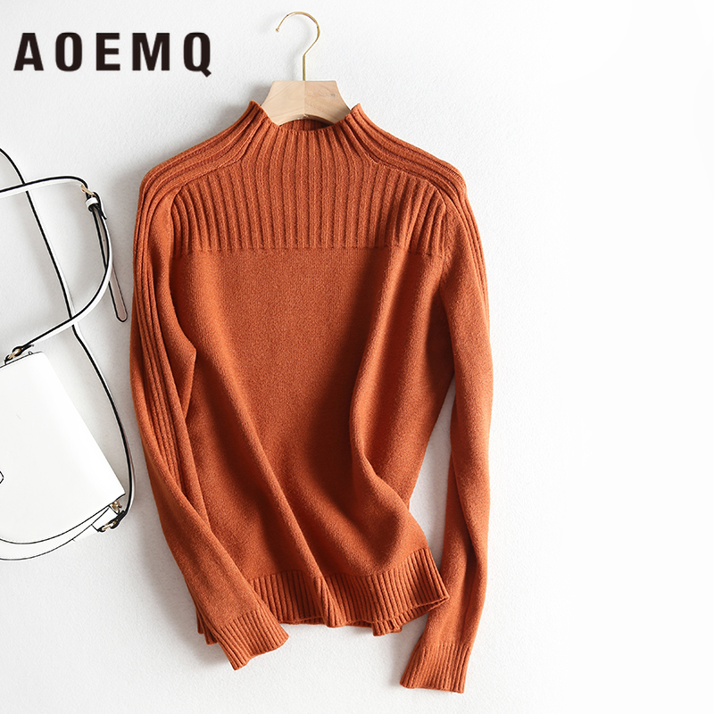 AOEMQ Winter Clothing Sweater 4 Colors One Size Keep Warm Use Turtleneck Sweater Women Tops Pullovers Striped Sweater Tops
