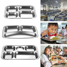Stainless Steel Divided Dinner Tray Lunch Container Food Plate for School Canteen 3/4/5 Section