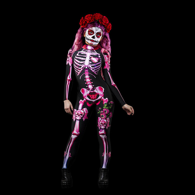 Adults Lady Day Of The Dead Jumpsuit Fancy Dress Halloween Costume Skull Candy