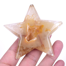 1 pc Natural Geode Pentagram Crystal Healing Stone Agate Energy Carved Cute Gift Home Decoration