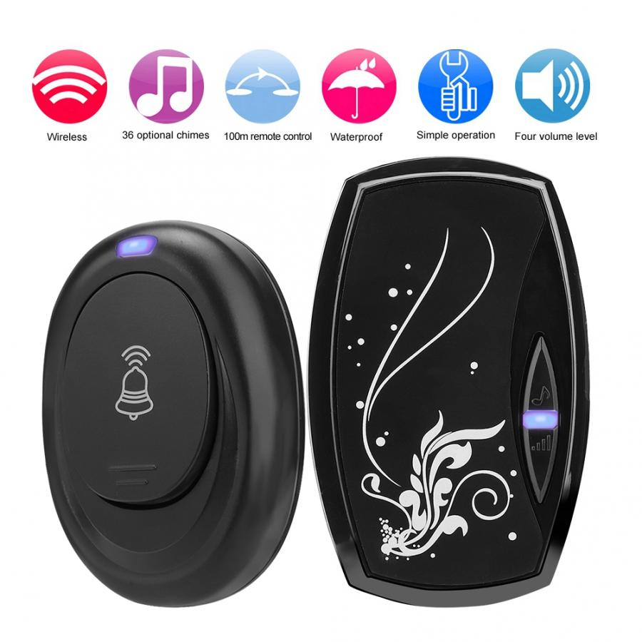 100m Remote Control Receiving Wireless Doorbell 36 Chime Waterproof LED 4 Volume ABS Home Security Smart Music Door Bell EU Plug in Doorbells from Home Improvement