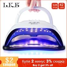 Lke novo secador de unhas sunx mais uv lâmpada dupla potência secador de unhas portátil manicure 42pcs leds para todos os gel polonês prego secadores