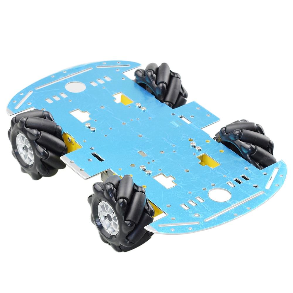 Cheapest Aluminum Mecanum Wheel Omni Robot Car Chassis Kit with 4pcs TT Motor for Arduino Raspberry Pi DIY Toy Parts Hot