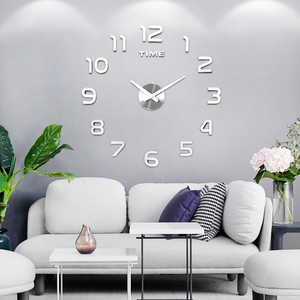 DIY 12v Digital Large Wall Clock Home Decoration Mirror Wall Clock Sticker Vinyl Modern Design Clock on The Wall for Living Room(China)