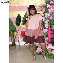 Wjustforu Patchwork Loose Denim Dress Women Clothes Summer S