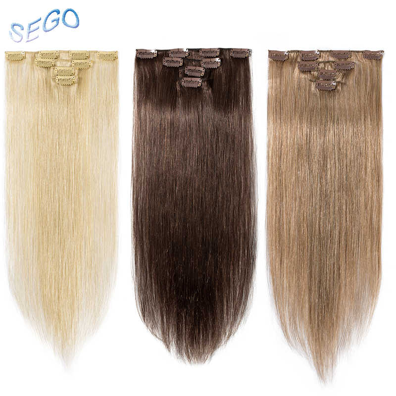 "SEGO 12""-22"" 40g Straight Clip in Human Hair Extensions Double Drawn Non-Remy Real Human Hair 613 Blonde Clip ins 4Pcs/Set"