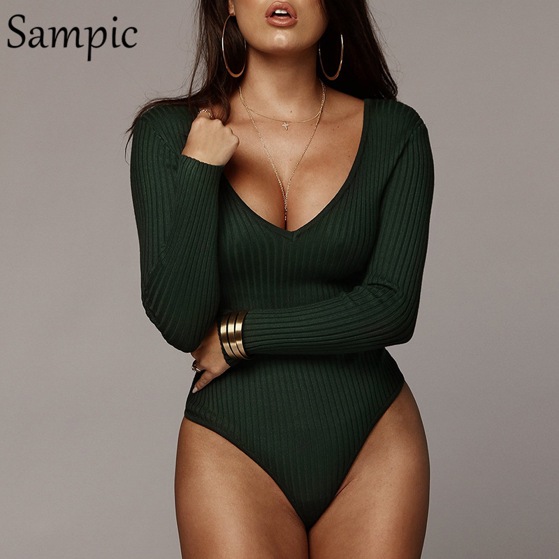 Sampic Sexy Woman Off Shoulder Party Club Skinny Bodysuit Tops High Waist V Neck Long Sleeve Bodysuit Autumn 2019