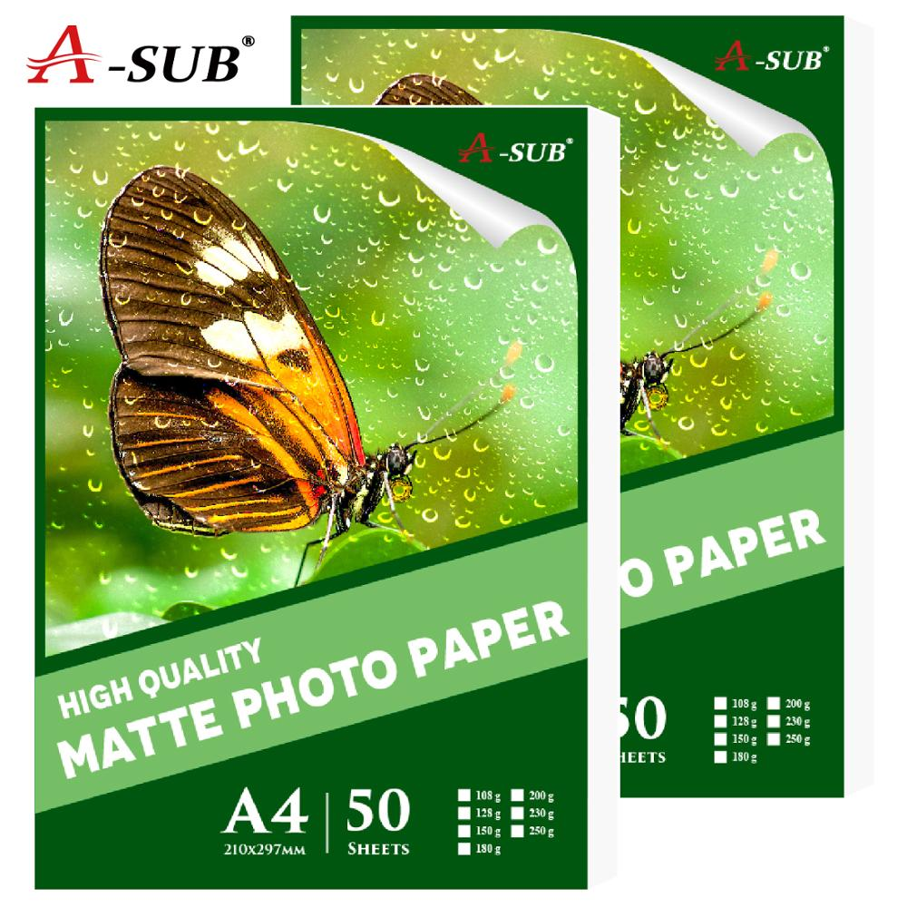 50 Sheets Matte A4 Photo Paper For Inkjet Printer Paper Imaging Supplies Printing Paper Waterproof Photographic Color Coated