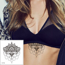 Chest Body Makeup Temporary Tattoo Sticker Fake Black Henna Flower Lace Jewelry Design Decal Beauty Female Art Waterproof Tattoo(China)