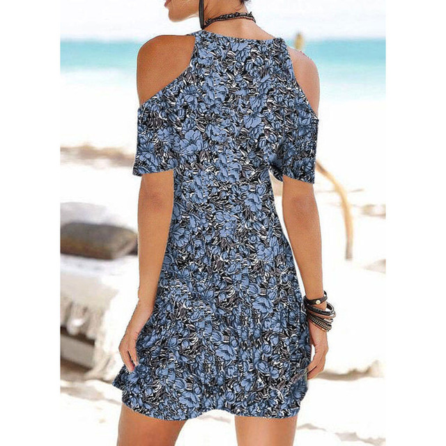 Summer Ladies Mid-length Dress Beach Casual Dress Sling V-neck Printed Slim Dress Plus Size S-5XL 5