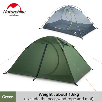 Naturehike Camping 2 Person Tent Outdoor 20D Nylon Silicon Double-layer Ultralight Tent Portable Hiking Picnic 3 Season Tent naturehike 1 2 man camping tent outdoor 1 2 person ultralight hiking camp tents 1 25kg pu 4000mm