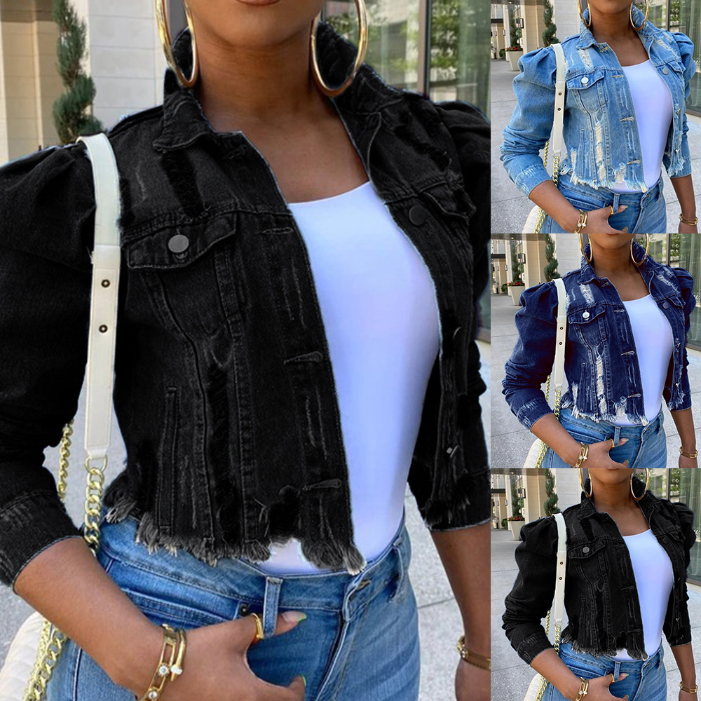 2021 Big Sale Spring Women Sexy Ripped Denim Jackets Vintage Casual Short Jean Jacket Puff Sleeve Winter Female Coat Streetwear
