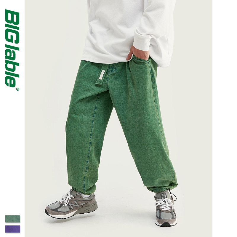 BIG LABLE 2019 Collection Men Casual Denim Jeans Loose Fit Straight Jeans Green Purple Color 2019 Oversized Baggy Jeans 93394W