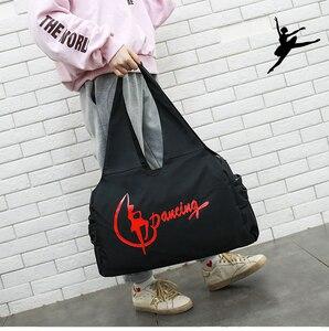 Image 2 - Jimnastik spor Yoga dans çantası kızlar için çanta Crossbody tuval büyük kapasiteli çanta kadın bale dans çantası yetişkin bale çanta