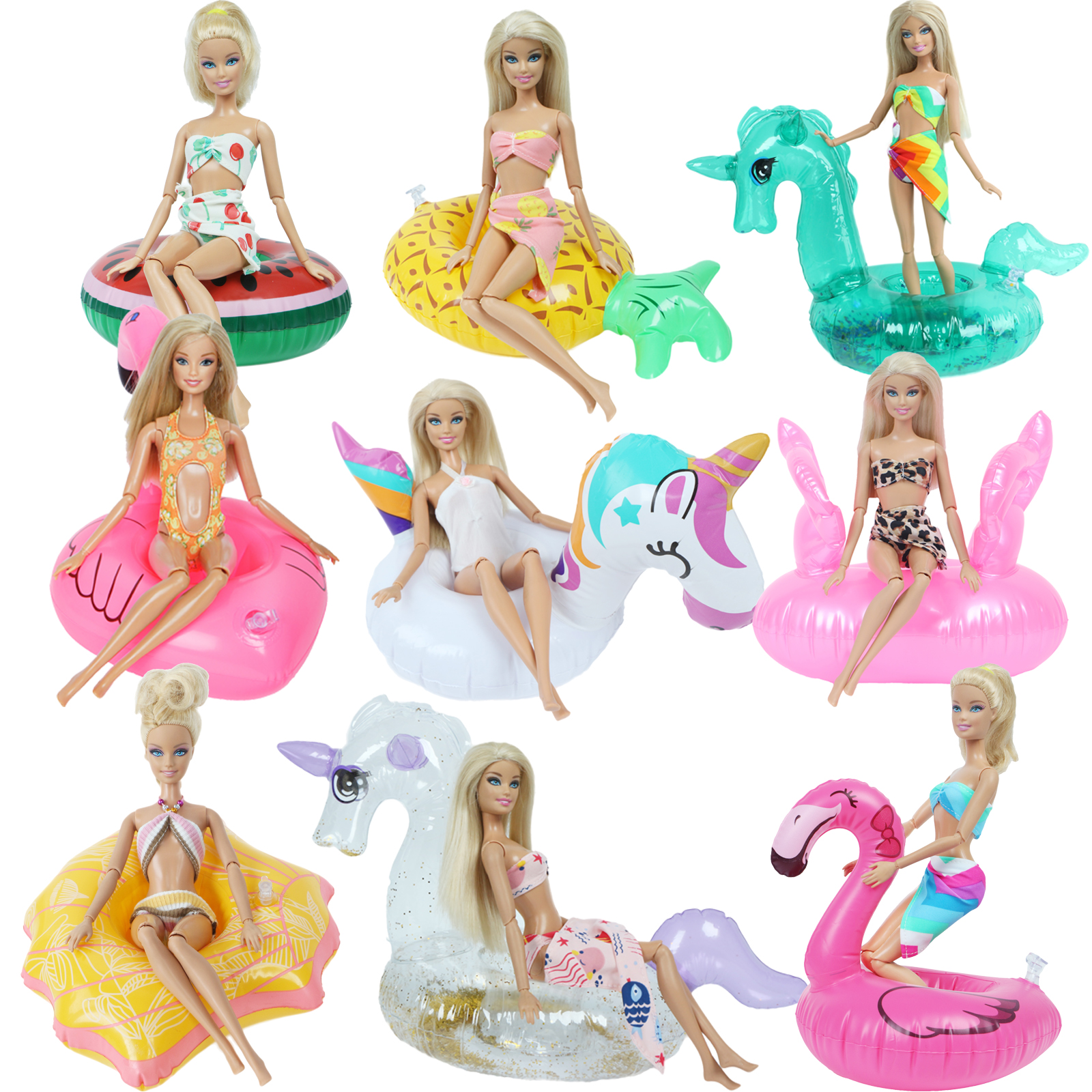 Fashion Handmade Swimsuit Beach Pool Party Wear Bikini Tops Pants Swimwear + Cute Swim Ring Clothes For Barbie Doll Accessories