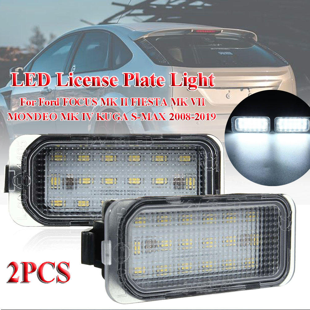 2X LED Number License Plate Light For Ford FOCUS MK II FIESTA MK VII MONDEO MK IV KUGA S-MAX 2008-2019
