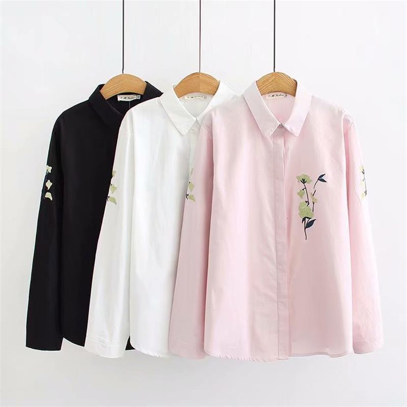 Grande taille rose & blanc & noir coton blouse femmes aléatoire manches longues fleurs né chemise printemps dames hauts