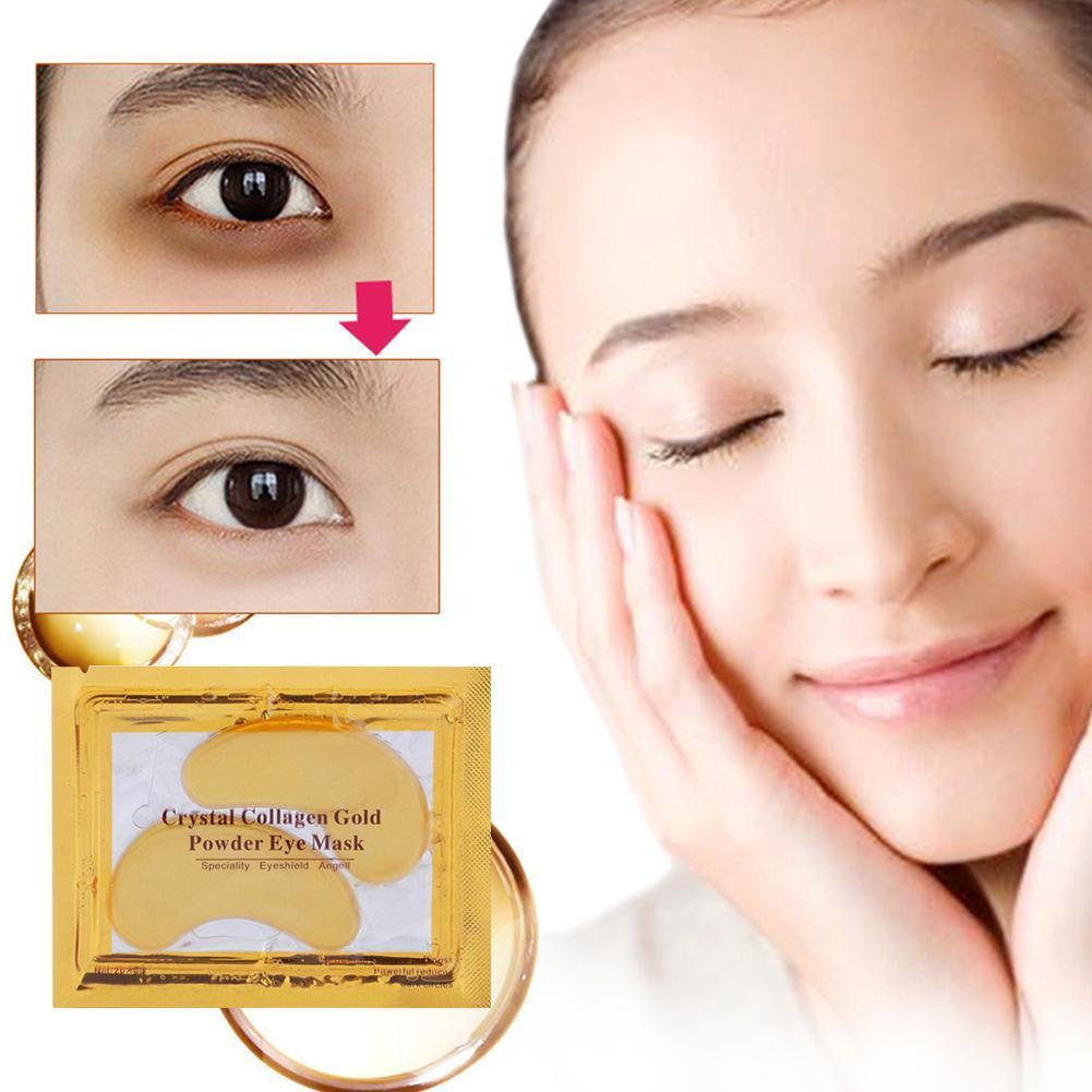 1 Pc/5 Pcs 24k Gold Crystal Collagen Eye Mask Anti Aging Remover Dark Circles Puffiness Moisturizing Eye Masks Gel Eye Pads