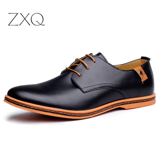 2020 Leather Casual Men Shoes Fashion Men Flats Round Toe Comfortable Office Men Dress Shoes Plus Size 38-48