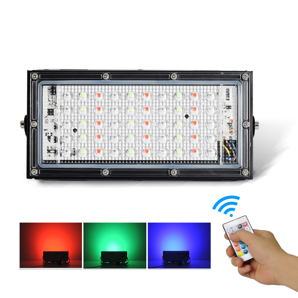 RGB Waterproof spotlight 50w combinable foco Lamp IP66 LED Flood light projector light Street lamp Remote control swit