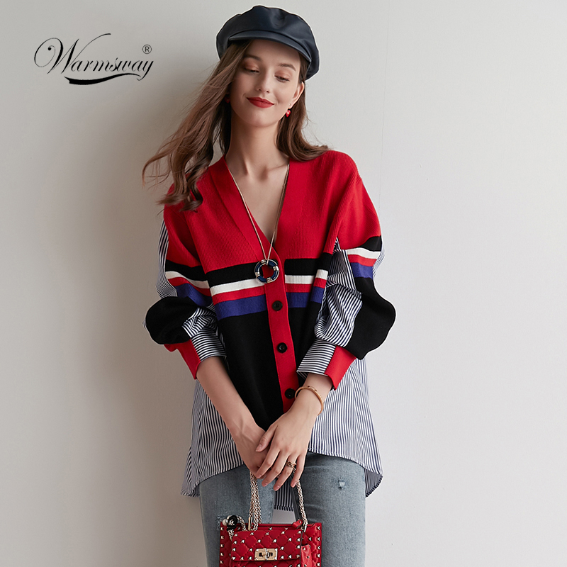 Plus Size Striped Cardigan 2020 New Spring Button Shrug Women Cardigan Color <font><b>Block</b></font> <font><b>Coat</b></font> Patchwork Knit Top Runway Outwear C-061 image