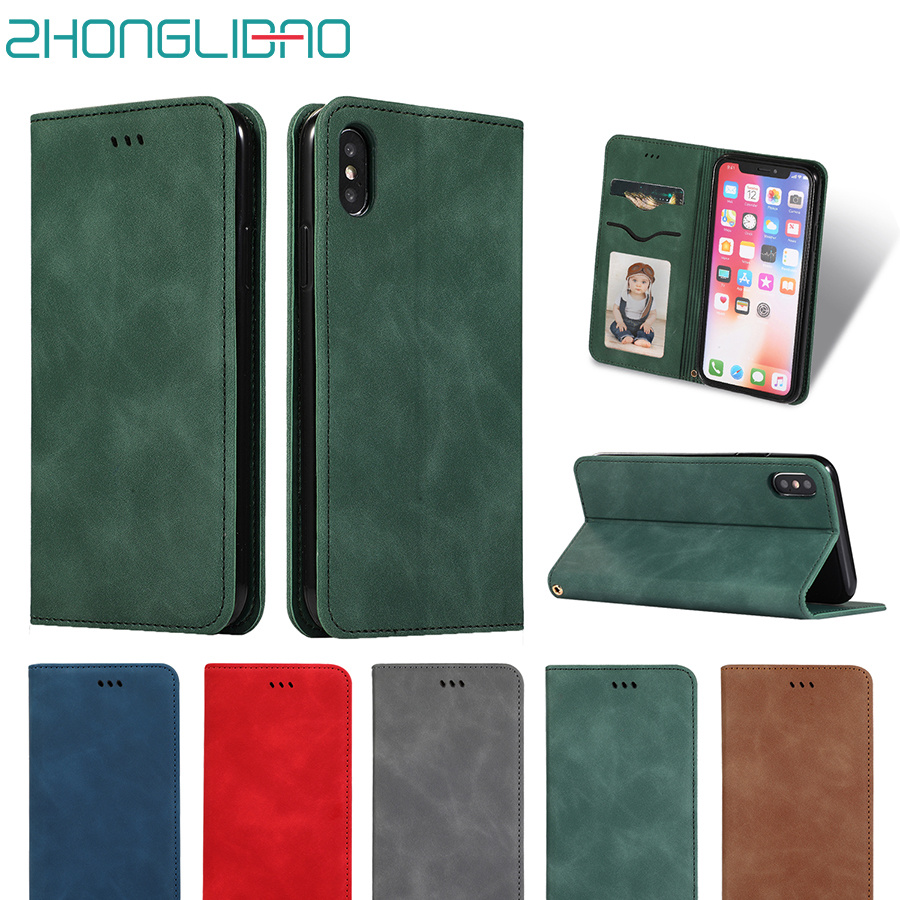 Leather <font><b>Case</b></font> <font><b>for</b></font> <font><b>Iphone</b></font> Xr <font><b>Xs</b></font> <font><b>Max</b></font> 7 8 6 6s Plus <font><b>x</b></font> <font><b>xs</b></font> Luxury Flip Soft Skin Silicone Magnetic Card Holder Wallet Stand Book Cover image