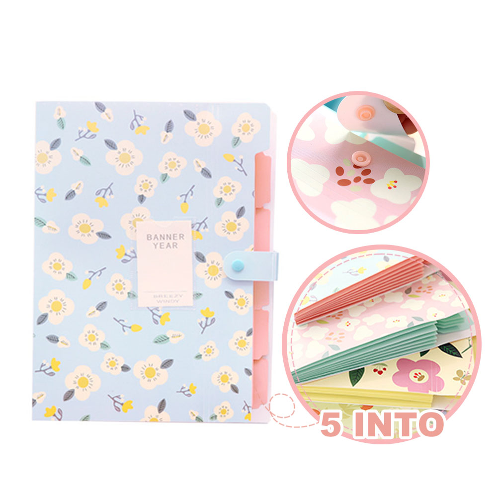 1PC Fresh Floral Filing Production Folder Multi-Function 5/8 Into Mezzanine File A4 Document File Folder School Office