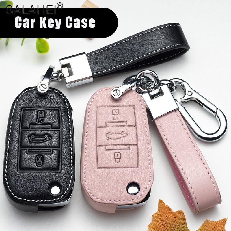 Кожаный чехол для автомобильных ключей, чехол для Peugeot 107 206 207 208 306 307 301 308S 407 2008 3008 4008 5008 RCZ для Citroen C1 C2 C3 C4 C5 DS3 DS4