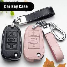 Leather Car Key Case For Peugeot 107 206 207 208 306 307 301 308S 407 2008 3008 4008 5008 RCZ for Citroen C1 C2 C3 C4 C5 DS3 DS4