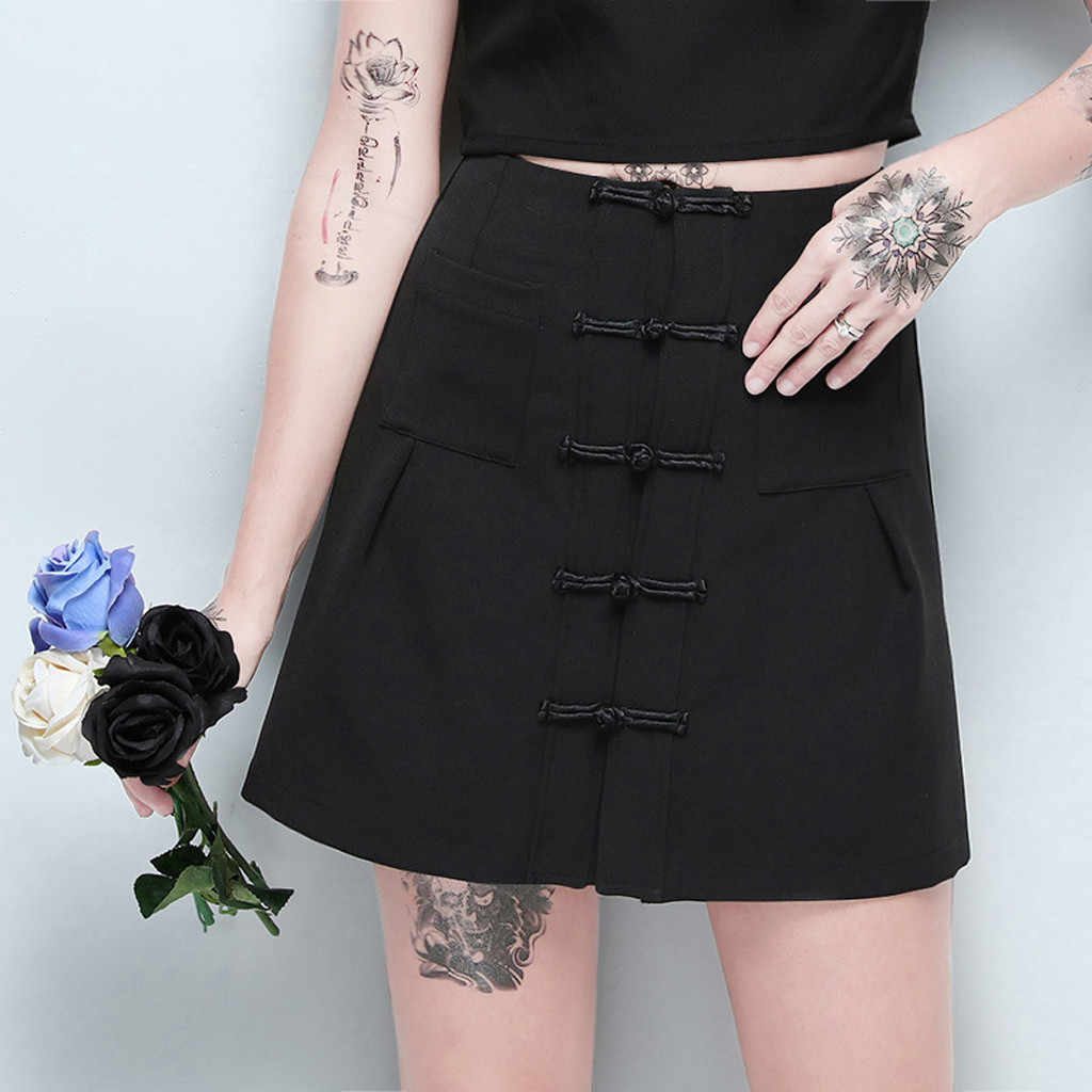 Vrouw Rok Saia Vintage Gothic Punk Zwarte Retro Solid Chinese Gesp Hoge Taille Midi Cool Mevrouw Kleding Faldas Lady Rokken #45