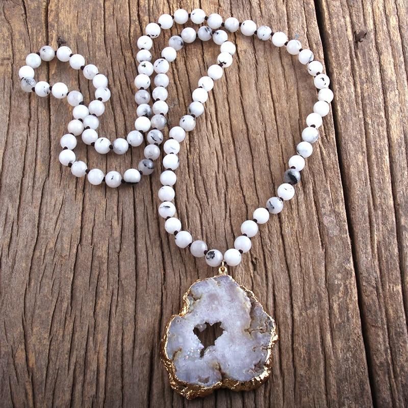 RH Fashion Bohemian Tribal Jewelry Semi Precious Stone Knotted Natural Druzy Pendant Necklaces