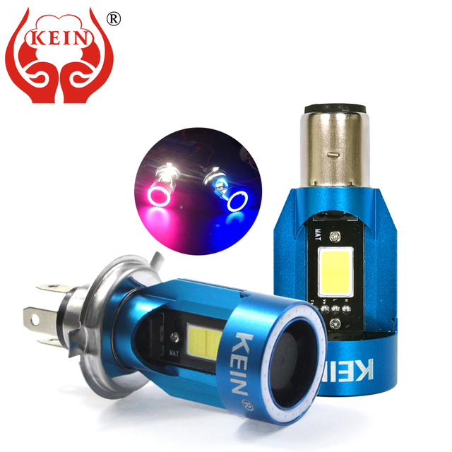 KEIN yeni melek gözler COB motosiklet kafa lambası ampulleri H4 Led H6 ba20d HS1 LED motosiklet kafa lambası Scooter aksesuarları sis lambası 25W